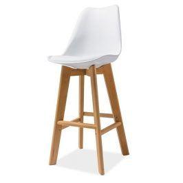 Barová židle KRIS H-1, bílá/buk