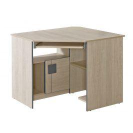 GIMMI, rohový PC stůl G11, dub santana/hnědá