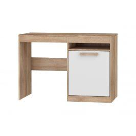 Psací stůl 1D MAXIMUS 02, dub sonoma/bílý lesk