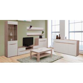 VENETO obývací pokoj - vzorová sestava, dub/béžový lesk