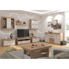 MAXIMUS obývací pokoj 2, dub sonoma/bílý lesk