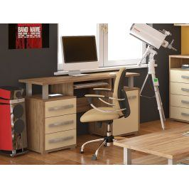 ANGEL PC stůl 1D3S, craft zlatý/krém