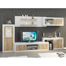 Obývací stěna VERIN 5, craft bílý/craft zlatý