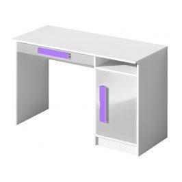 Pracovní stůl GULLIWER 9, bílá lesk/fialová