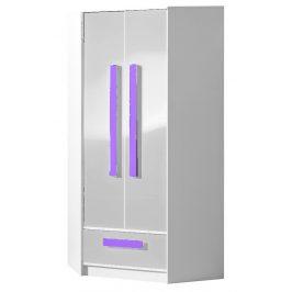 Šatní skříň rohová GULLIWER 2, bílý lesk/fialová