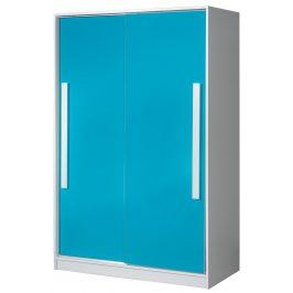 Šatní skříň s posuv. dveřmi GULLIWER 12, bílá/tyrkys lesk