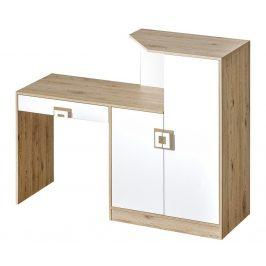 Pracovní stůl s komodou NIKO 11, dub jasný/bílá