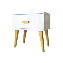 Noční stolek SAVONA, masiv borovice, moření bílá