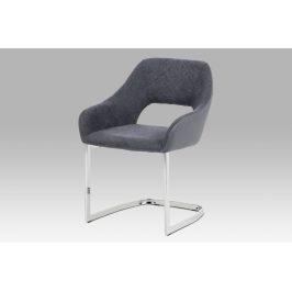 Jídelní židle HC-223 GREY2, šedá látka+ekokůže/chrom