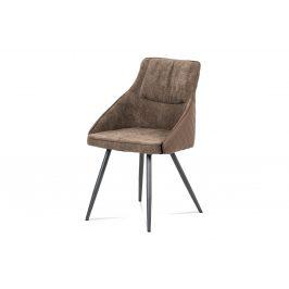 Jídelní židle DCH-202 LAN2, lanýžová látka+ekokůže/kov šedý