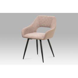 Jídelní židle HC-221 LAN2, lanýžová látka+cappuccino ekokůže/kov černý