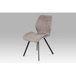 Jídelní židle HC-440 LAN3, lanýžová látka vintage/kov černý Židle do kuchyně
