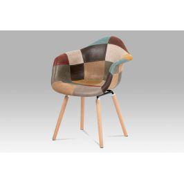 Jídelní židle CT-728 PW3, vícebarevná látka patchwork/buk masiv Židle do kuchyně
