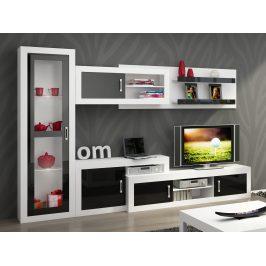 Obývací stěna VERIN 3, bílá/černý lesk