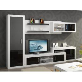 Obývací stěna VERIN 2, bílá/černý lesk