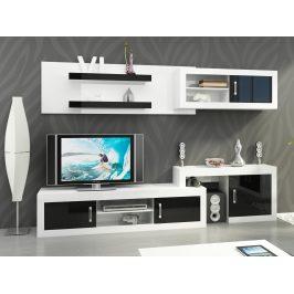 Obývací stěna VERIN 1, bílá/černý lesk