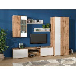 Obývací stěna ZELE, dub wotan/bílý lesk