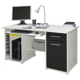 Praktický PC stůl LUBOR, bílá/černá Psací stoly