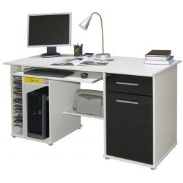 Praktický PC stůl LUBOR, bílá/černá