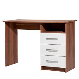 Psací stůl se zásuvkami P60044-I, ořech/bílá