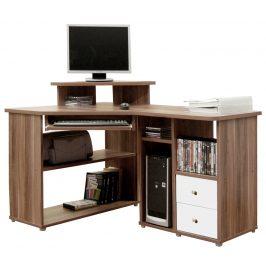 Rohový PC stůl THEODOR, švestka/bílá