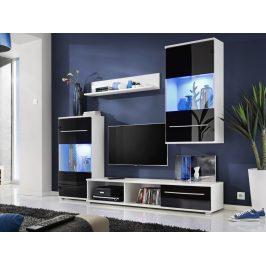 LIPPI, obývací stěna, bílá/černý lesk