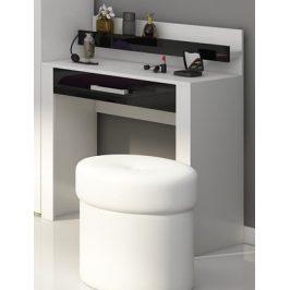VIKI, toaletní stolek, bílá/černý lesk