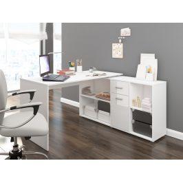 Psací stůl BEAT P pravý, barva: bílá/bílý lesk