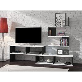Obývací stěna SYDNEY, barva: bílá/černý lesk