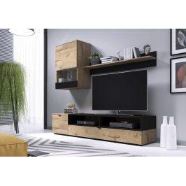 Obývací stěna SNAP, dub lefkas/černá