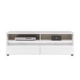 N1 - Televizní stolek NEO N1 s LED osvětlením, vysoký bílý lesk/beton