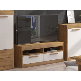 TV stolek 2S MAXIM 34, dub burgundský/bílý lesk