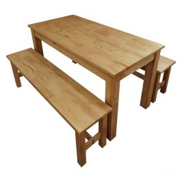 Stůl 140x70 + 2 lavice CORONA 2 vosk