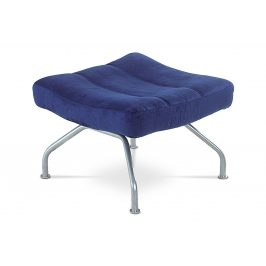 Taburet, modrá látka, kov, šedostříbrný lak BS-SU2 BLUE
