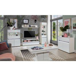 Obývací pokoj NEO s LED osvětlením, vysoký bílý lesk/beton