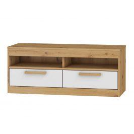 TV stolek 2S MAXIM 34, dub artisan/bílý lesk