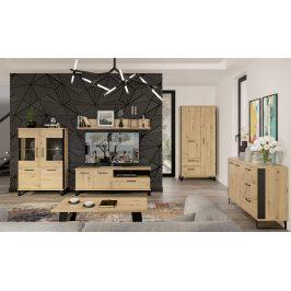 Obývací pokoj LOFT 3, dub artisan/černá