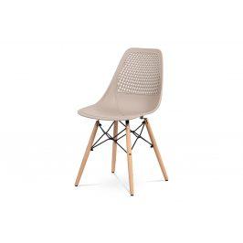 Jídelní židle, cappuccino plast, masiv přírodní buk, kov černý CT-521 CAP