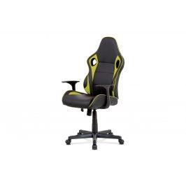 Kancelářská židle - černá ekokůže, zelená látka MESH, houpací mech., plastový kříž KA-E807 GRN