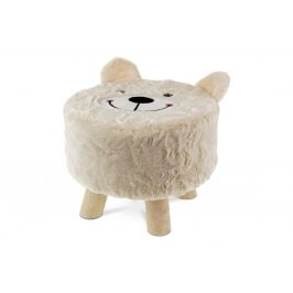 Taburet - medvěd, smetanová látka, dřevěné nohy LA2000-CREAM