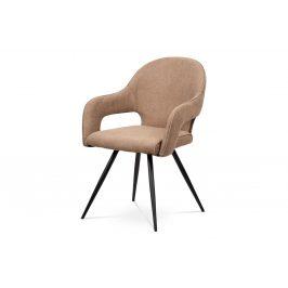 Jídelní židle - cappuccino látka, kovová podnož, černý matný lak HC-031 CAP2