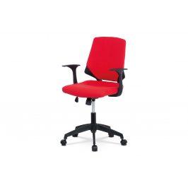 Kancelářská židle, červená látka, černé PP područky KA-R204 RED