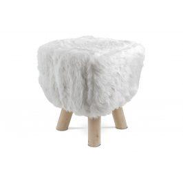 Taburet, bílá látka,  dřevěné nohy LA2005