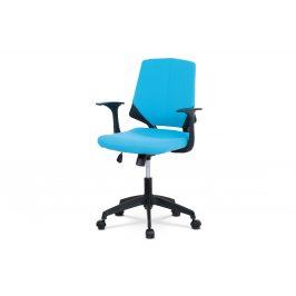 Kancelářská židle, modrá látka, černé PP područky KA-R204 BLUE