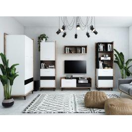Obývací pokoj BOX 2, craft tobaco/bílá/černá, 5 let záruka