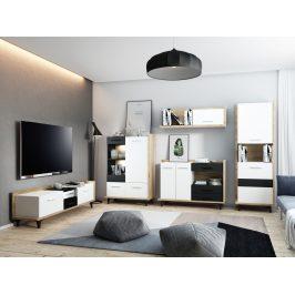 Obývací pokoj BOX 3, craft zlatý/bílá/černá, 5 let záruka