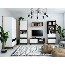 Obývací pokoj BOX 2, dub burgundský/bílá/černá, 5 let záruka