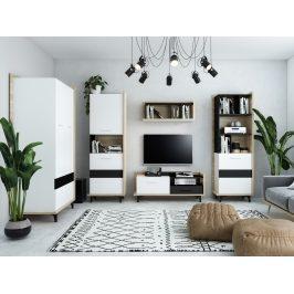 Obývací pokoj BOX 2, dub sonoma/bílá/černá, 5 let záruka Obývací stěny