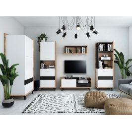 Obývací pokoj BOX 2, craft zlatý/bílá/černá, 5 let záruka