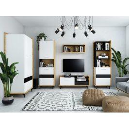 Obývací pokoj BOX 2, dub artisan/bílá/černá, 5 let záruka